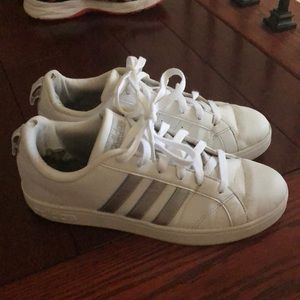 Adidas sneakers tennis shoes white and silver
